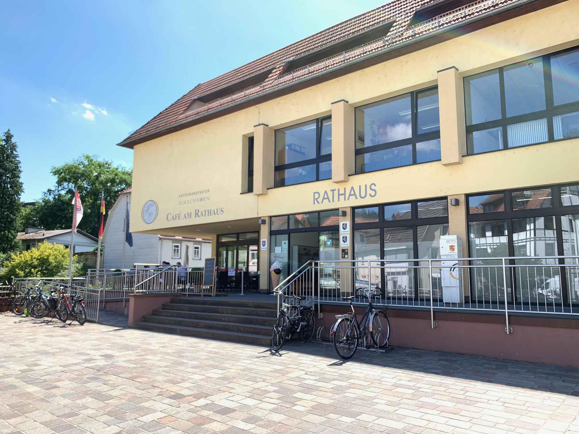 Hirschhorn Rathaus und Kaffeerösterei